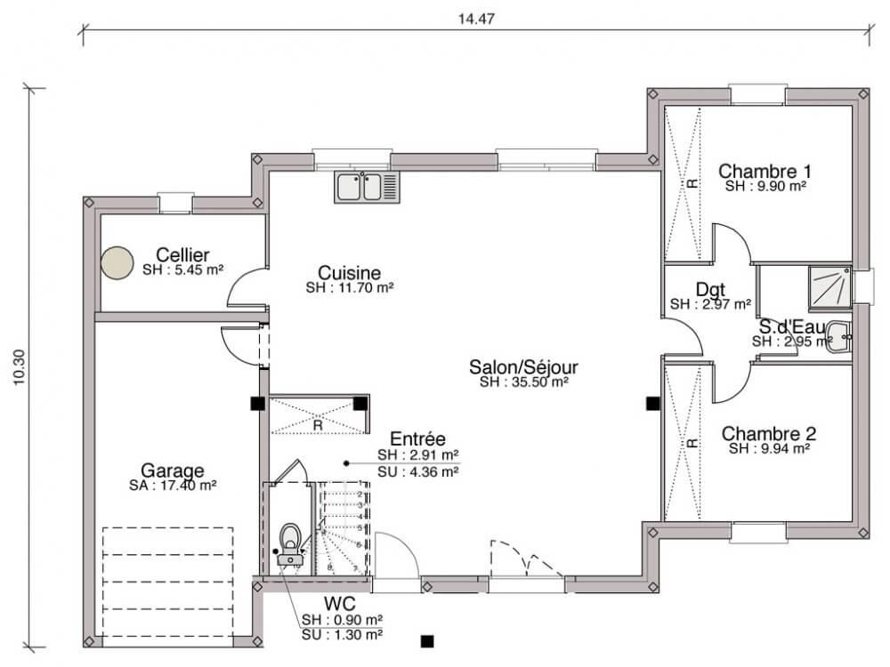 Plan de maison plain pied 11m de façade
